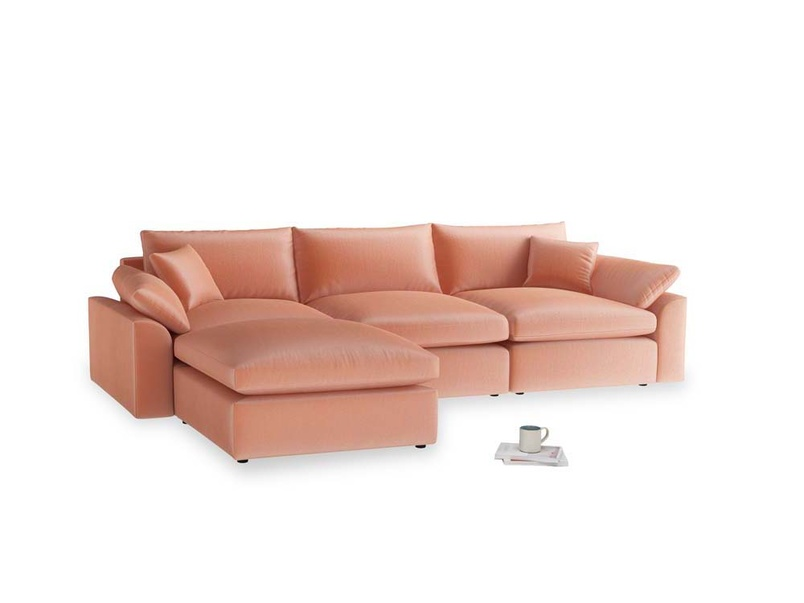 Large left hand Cuddlemuffin Modular Chaise Sofa in Old rose vintage velvet