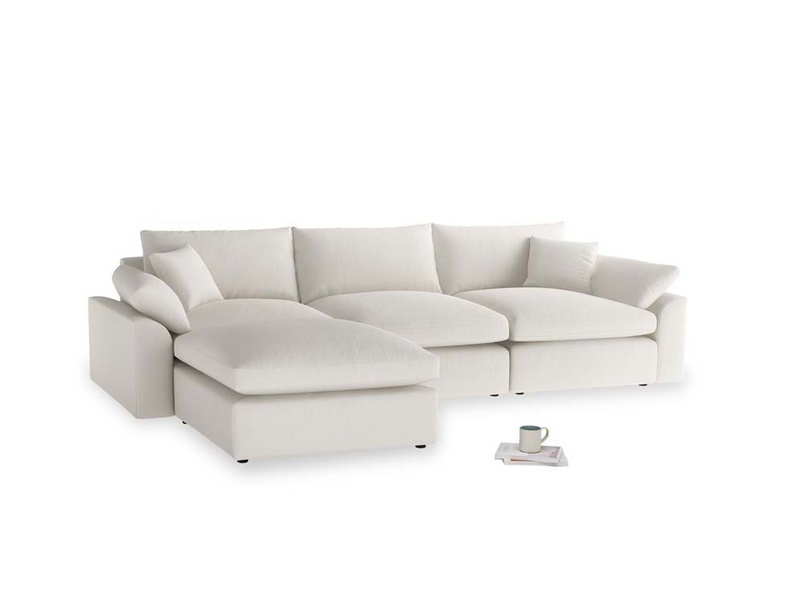 Large left hand Cuddlemuffin Modular Chaise Sofa in Oyster white clever linen