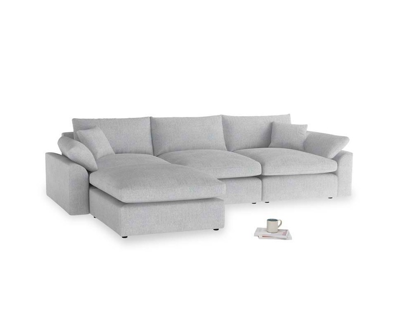 Large left hand Cuddlemuffin Modular Chaise Sofa in Pebble vintage linen