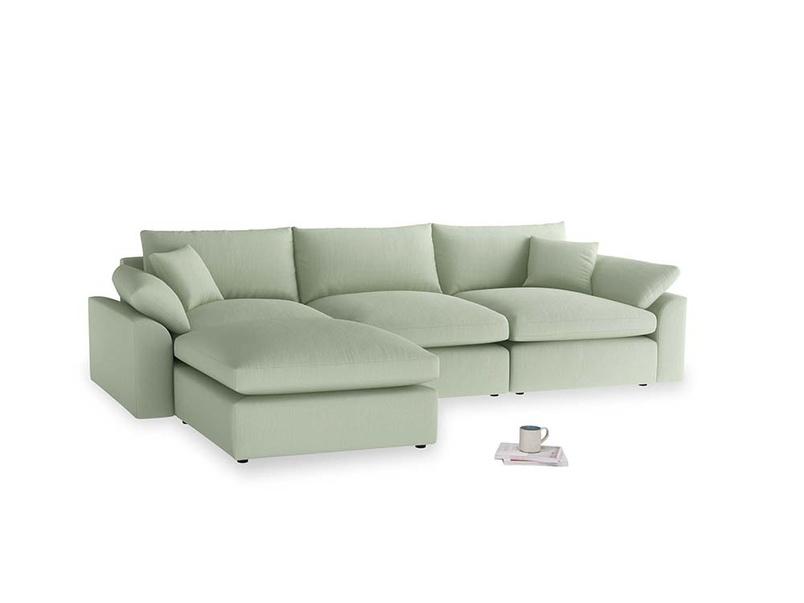 Large left hand Cuddlemuffin Modular Chaise Sofa in Powder green Clever Linen