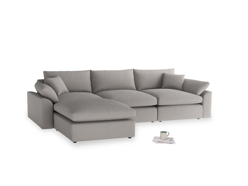 Large left hand Cuddlemuffin Modular Chaise Sofa in Safe grey clever linen