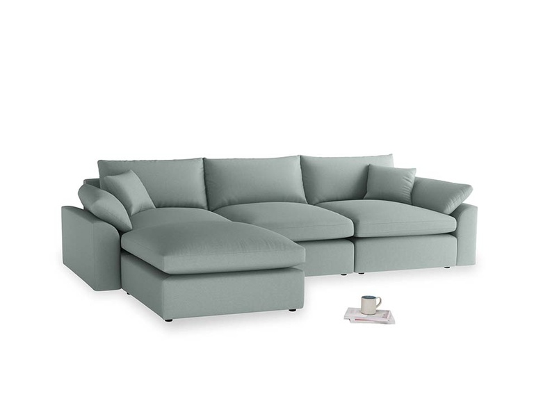 Large left hand Cuddlemuffin Modular Chaise Sofa in Sea fog Clever Woolly Fabric