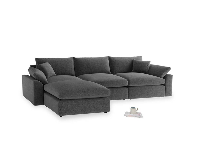 Large left hand Cuddlemuffin Modular Chaise Sofa in Shadow Grey wool