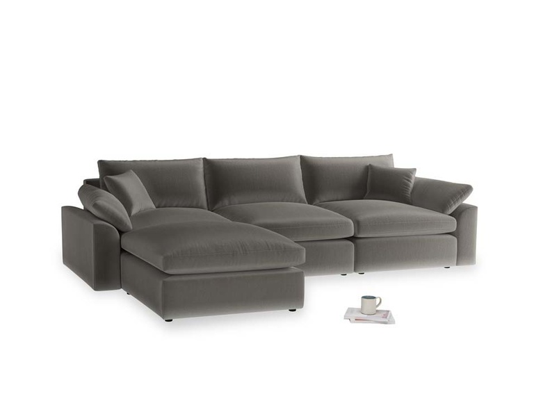 Large left hand Cuddlemuffin Modular Chaise Sofa in Slate clever velvet