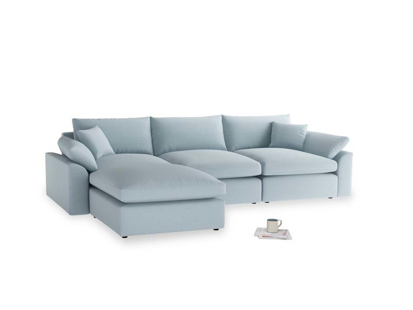 Large left hand Cuddlemuffin Modular Chaise Sofa in Soothing blue washed cotton linen