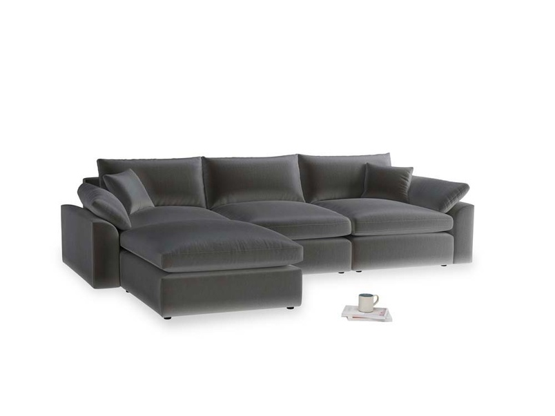 Large left hand Cuddlemuffin Modular Chaise Sofa in Steel clever velvet