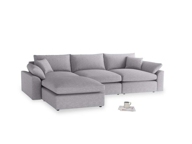 Large left hand Cuddlemuffin Modular Chaise Sofa in Storm cotton mix