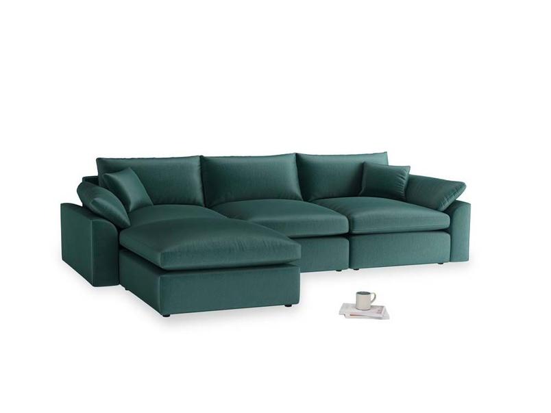 Large left hand Cuddlemuffin Modular Chaise Sofa in Timeless teal vintage velvet