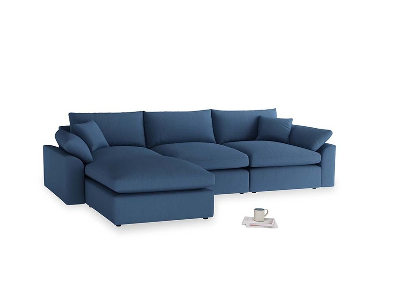 Large left hand Cuddlemuffin Modular Chaise Sofa in True blue Clever Linen