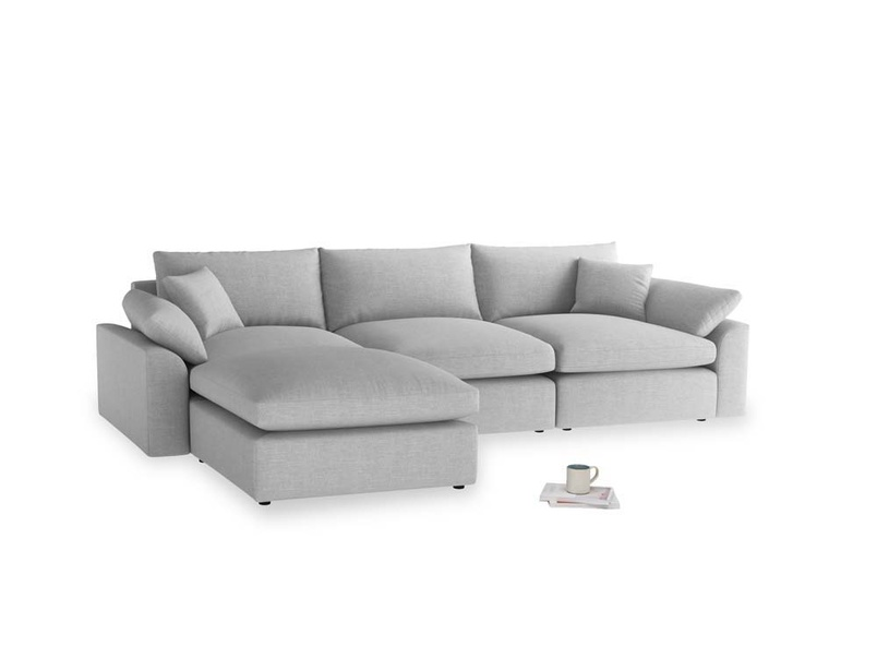 Large left hand Cuddlemuffin Modular Chaise Sofa in Cobble house fabric