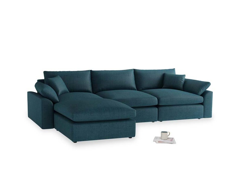 Large left hand Cuddlemuffin Modular Chaise Sofa in Harbour Blue Vintage Linen