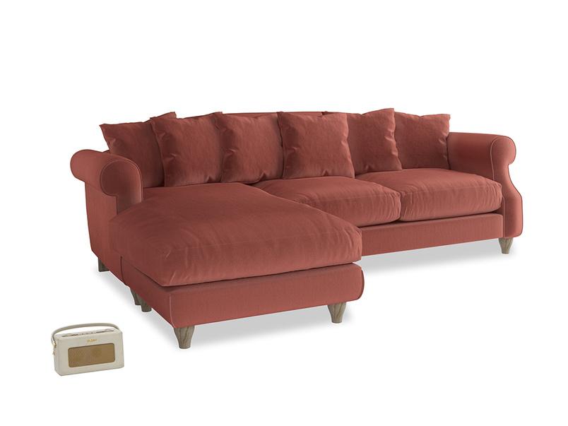 XL Left Hand  Sloucher Chaise Sofa in Dusty Cinnamon Clever Velvet