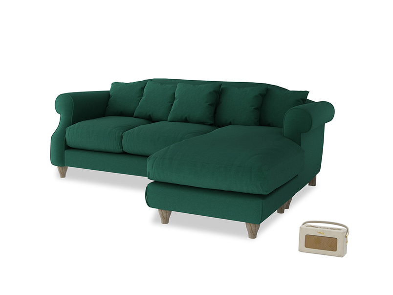 Large right hand Sloucher Chaise Sofa in Cypress Green Vintage Linen