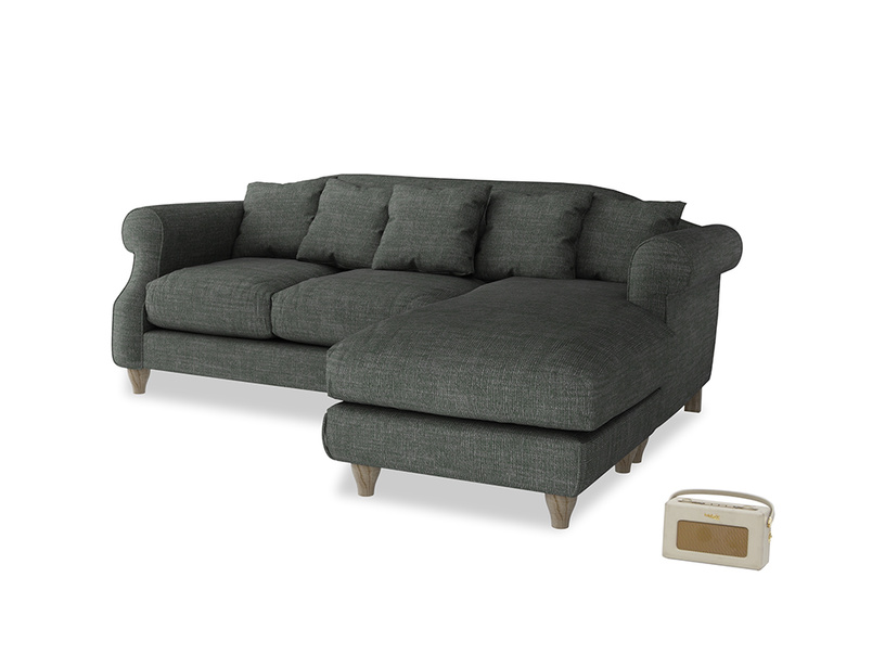 Large right hand Sloucher Chaise Sofa in Pencil Grey Clever Laundered Linen