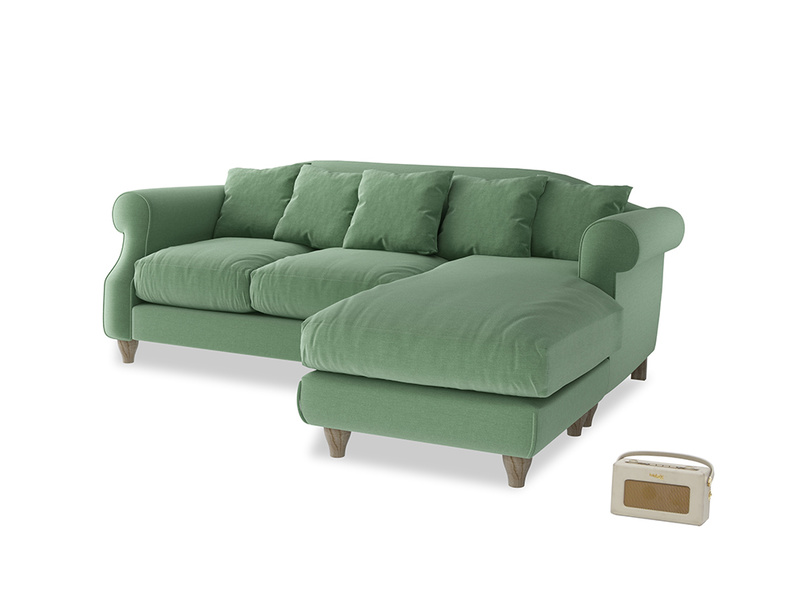 Large right hand Sloucher Chaise Sofa in Thyme Green Vintage Linen