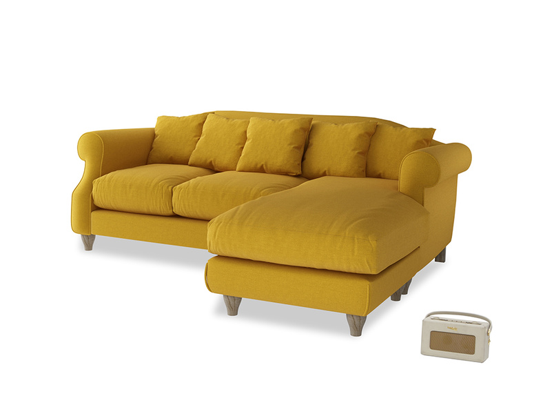 Large right hand Sloucher Chaise Sofa in Yellow Ochre Vintage Linen