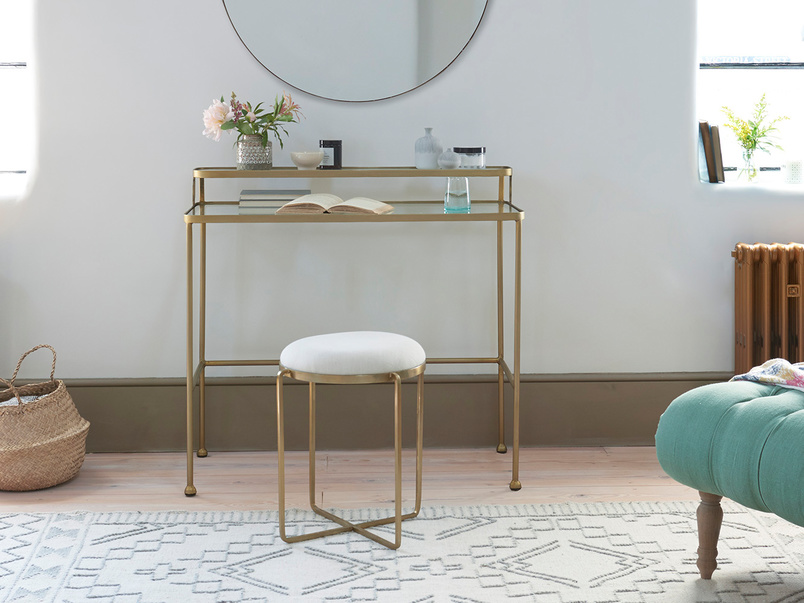 Showtime Glass and Brass Vanity Table