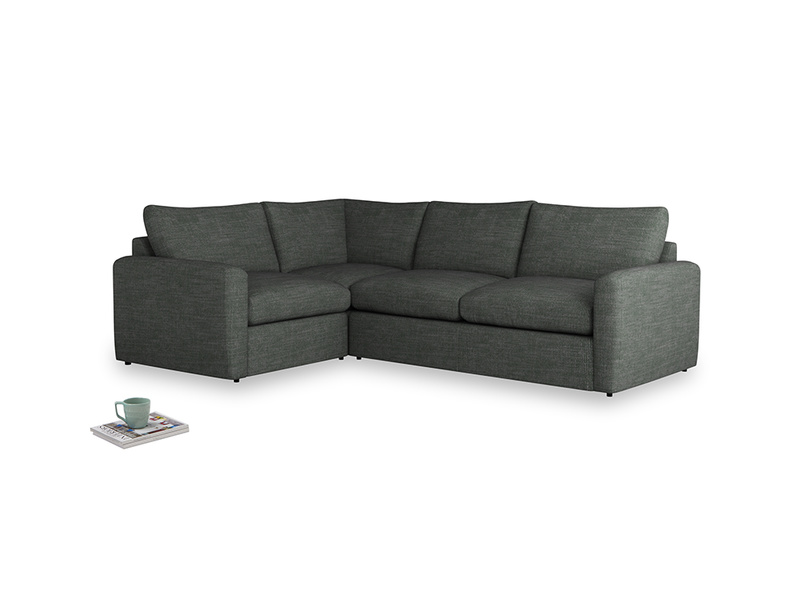 Large left hand Chatnap modular corner storage sofa in Pencil Grey Clever Laundered Linen with both arms