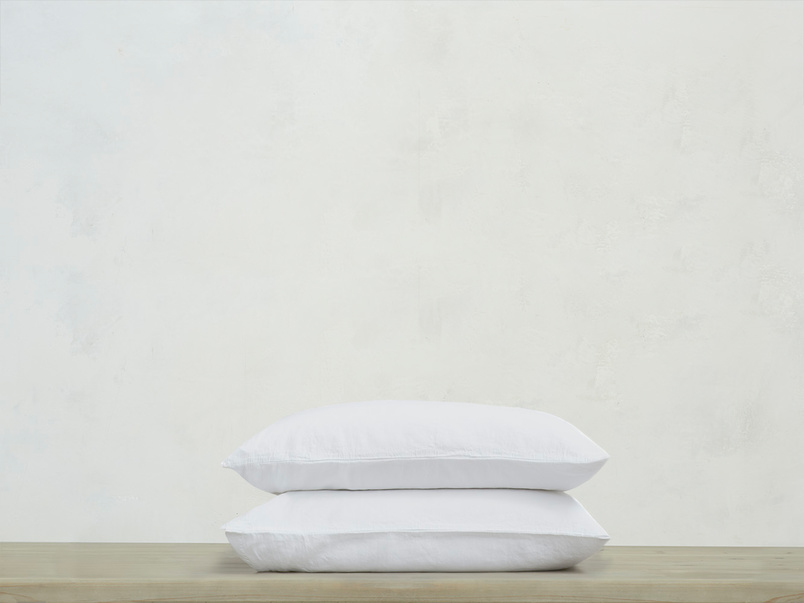 Everyday Linen Pillowcase in White x2