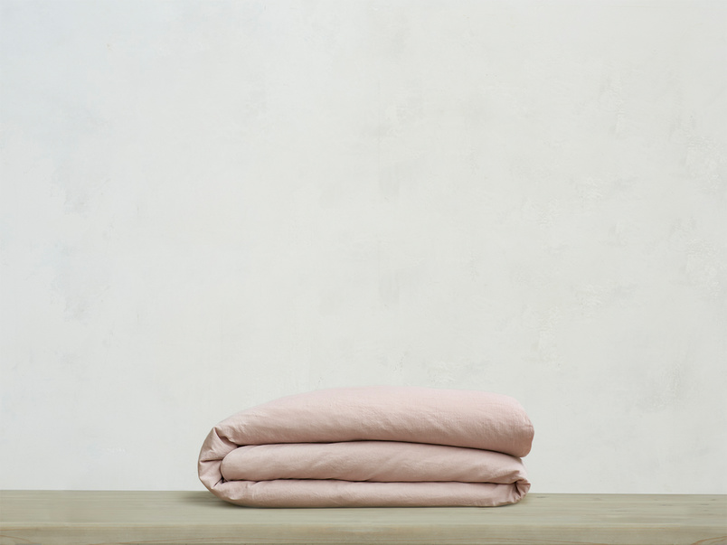 Superking Everyday Linen Duvet Cover in Pink Putty