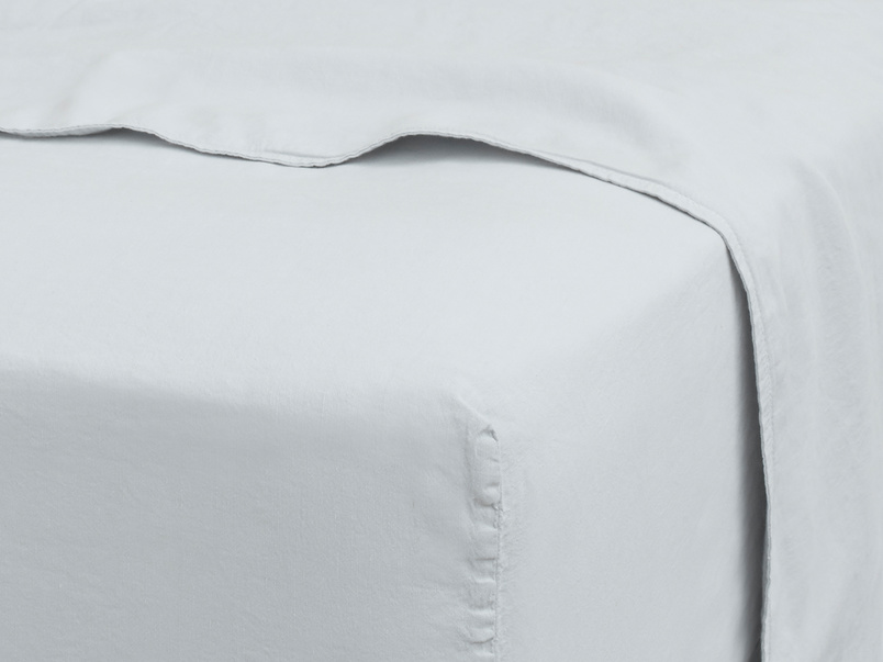 Double Everyday Linen Fitted Sheet in Sky grey