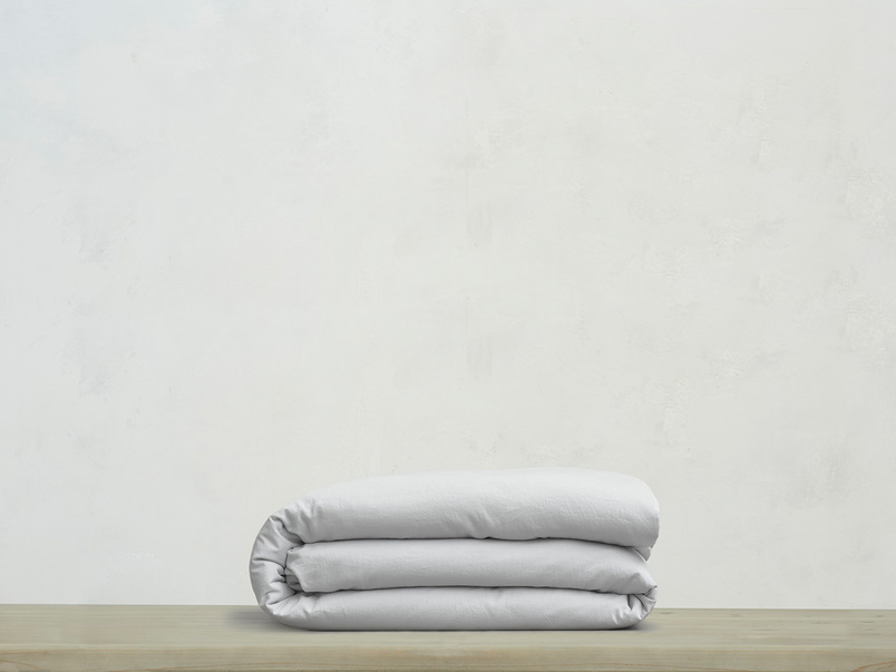 Superking Tumbled Cotton Duvet Cover in Sky grey