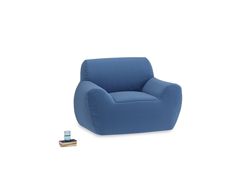 Layabout Chair Squidger in English blue Brushed Cotton