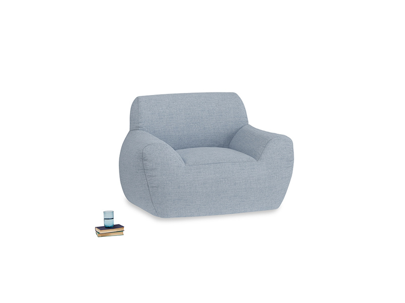 Layabout Chair Squidger in Frost clever woolly fabric