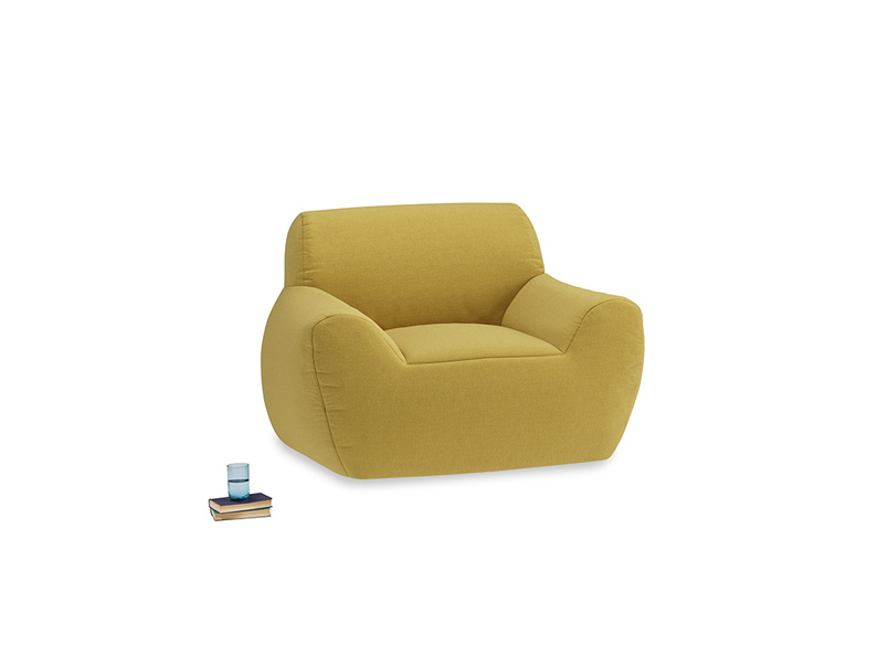 Layabout Chair Squidger in Maize yellow Brushed Cotton
