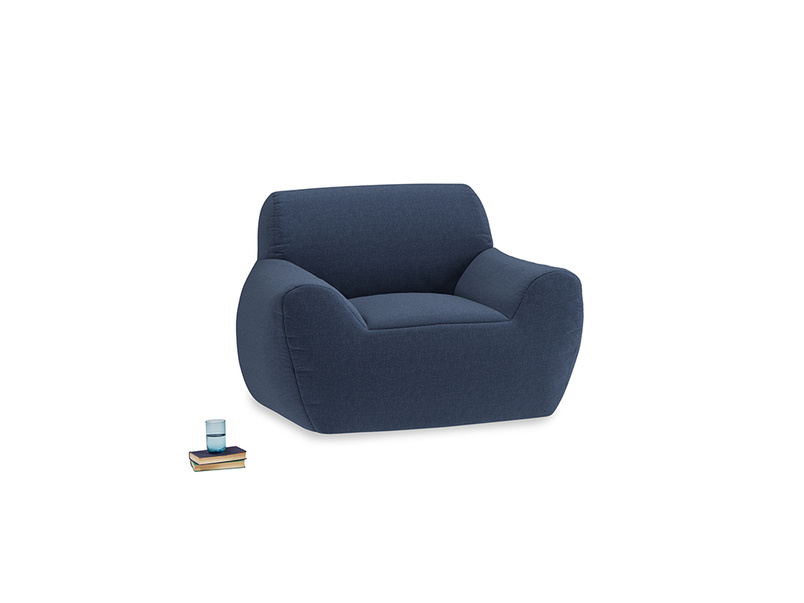 Layabout Chair Squidger in Navy blue brushed cotton