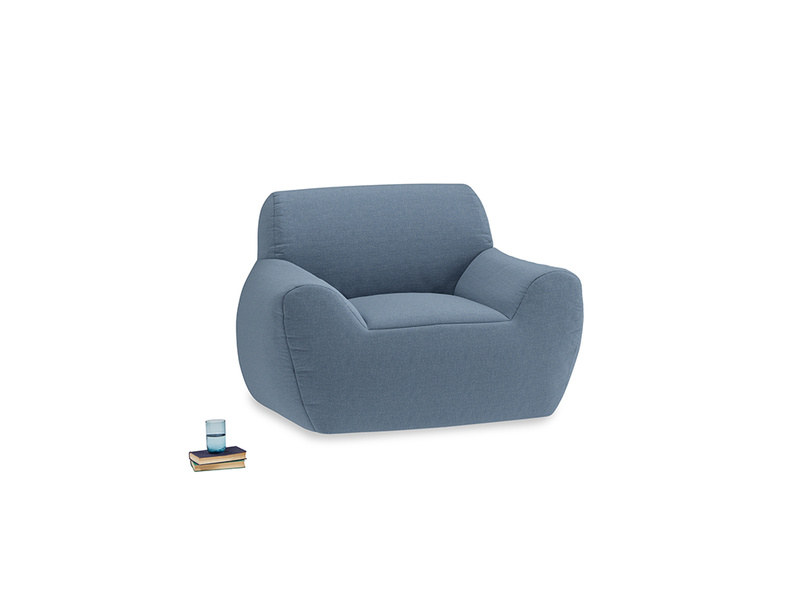Layabout Chair Squidger in Nordic blue brushed cotton