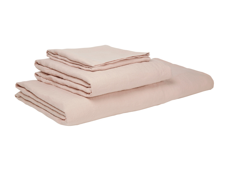 Superking Lazy Linen Fitted Sheet in Dusty pink