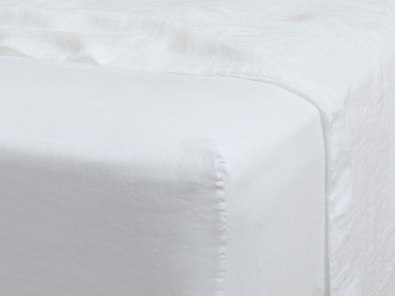 Superking Lazy Linen Fitted Sheet in White