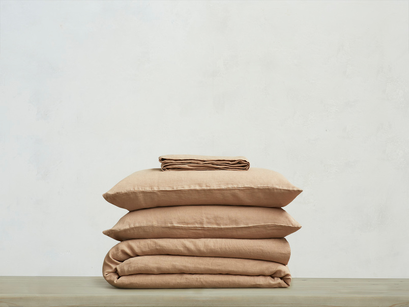 395221 lazy linen 100 percent linen breathable bed sheets bundle in nutmeg
