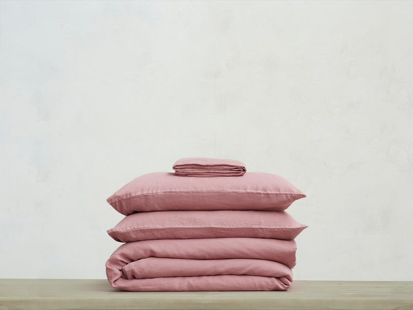 395223 lazy linen 100 percent linen breathable bed sheets bundle in old rose