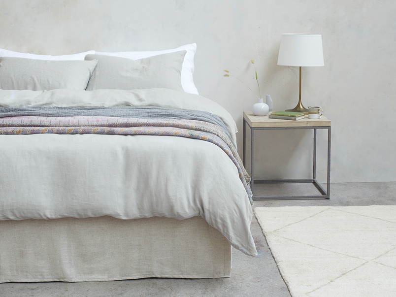 395370 lazy linen pure linen breathable bed sheets in light grey