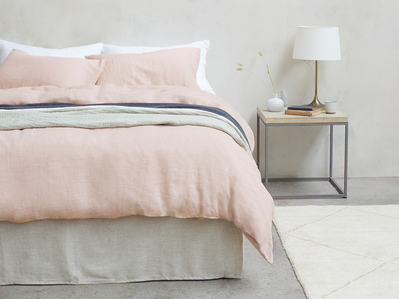 395373 lazy linen pure linen breathable bed sheets in dusty pink
