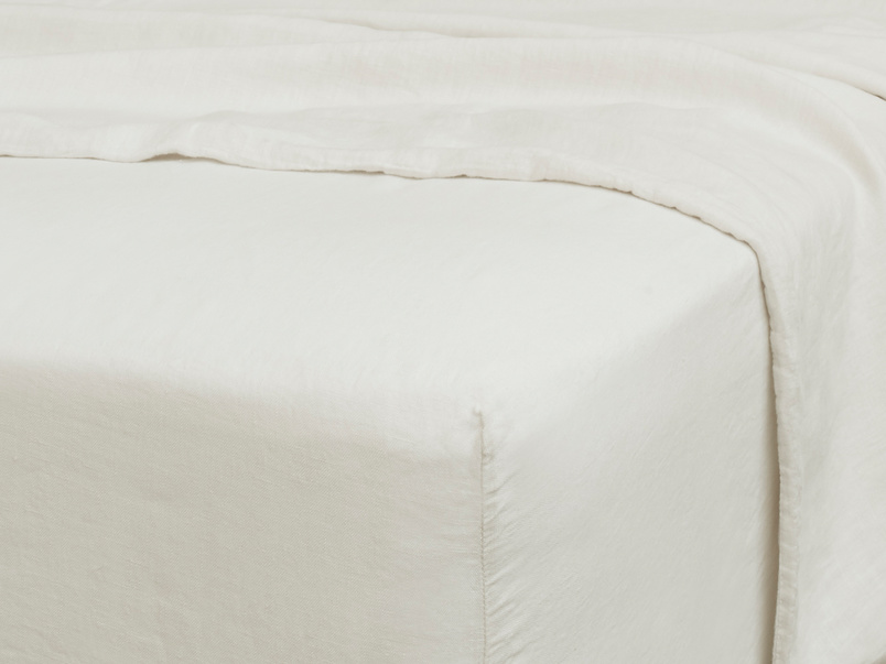 Double Lazy Linen Fitted Sheet in Vintage White