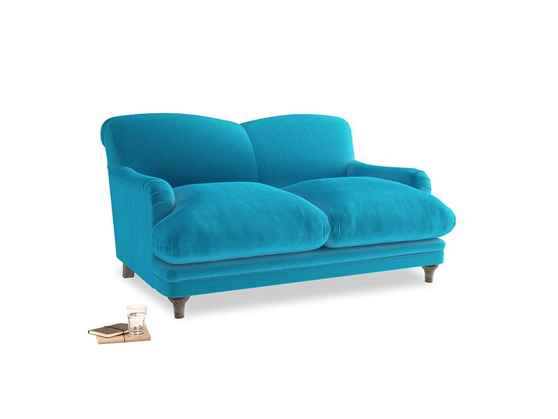 Small Pudding Sofa in Azure plush velvet