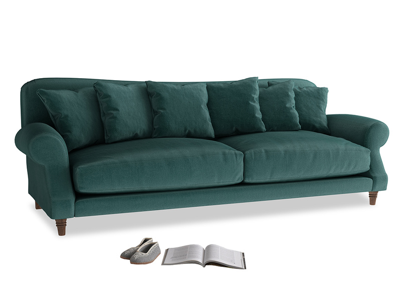 Extra large Crumpet Sofa in Timeless teal vintage velvet