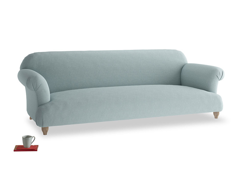 Extra large Soufflé Sofa in Smoke blue brushed cotton