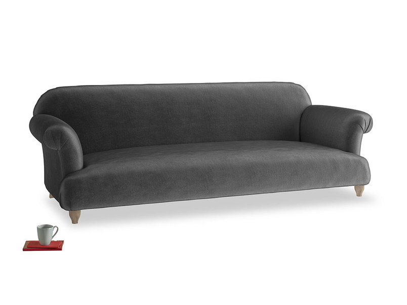Extra large Soufflé Sofa in Scuttle grey vintage velvet