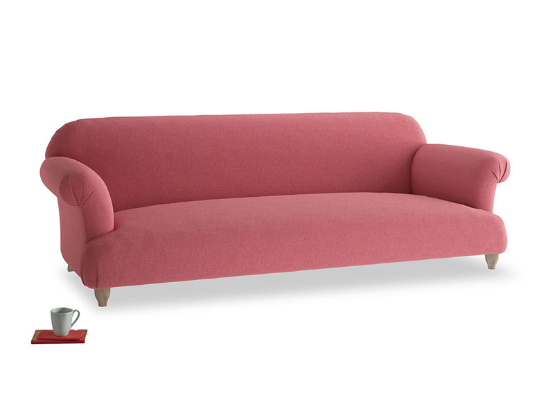 Extra large Soufflé Sofa in Raspberry brushed cotton