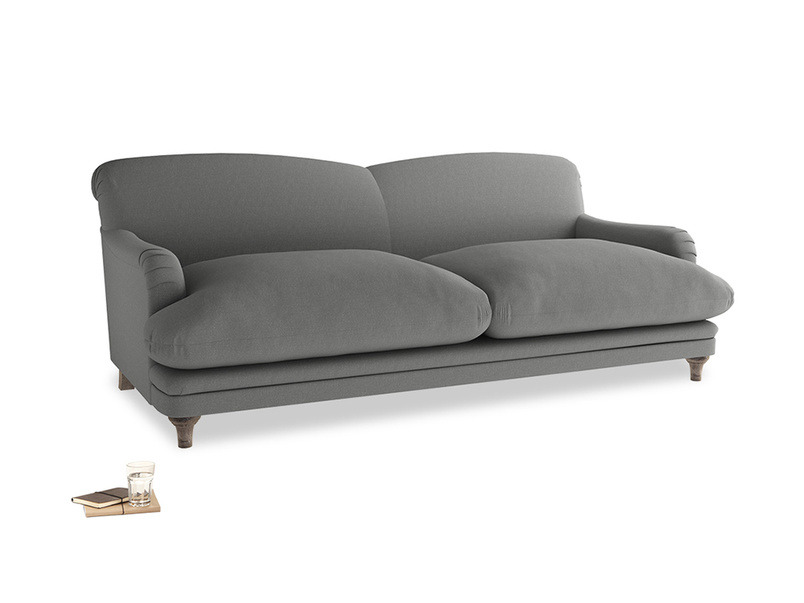 Large Pudding Sofa in French Grey brushed cotton