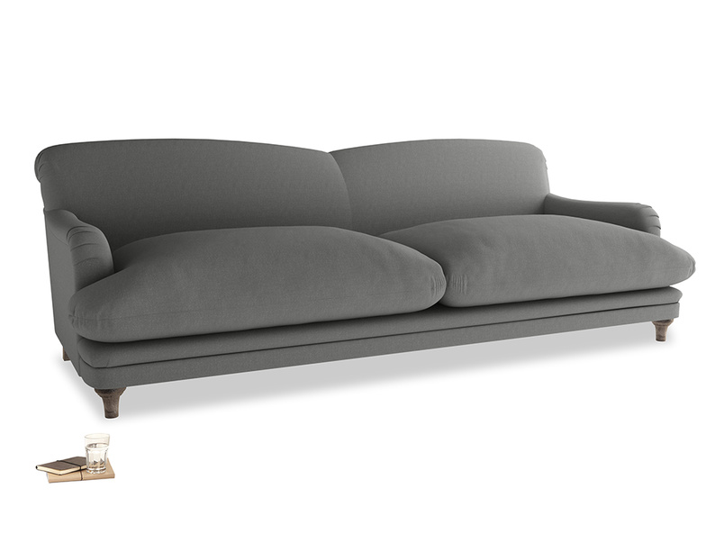 Extra large Pudding Sofa in French Grey brushed cotton