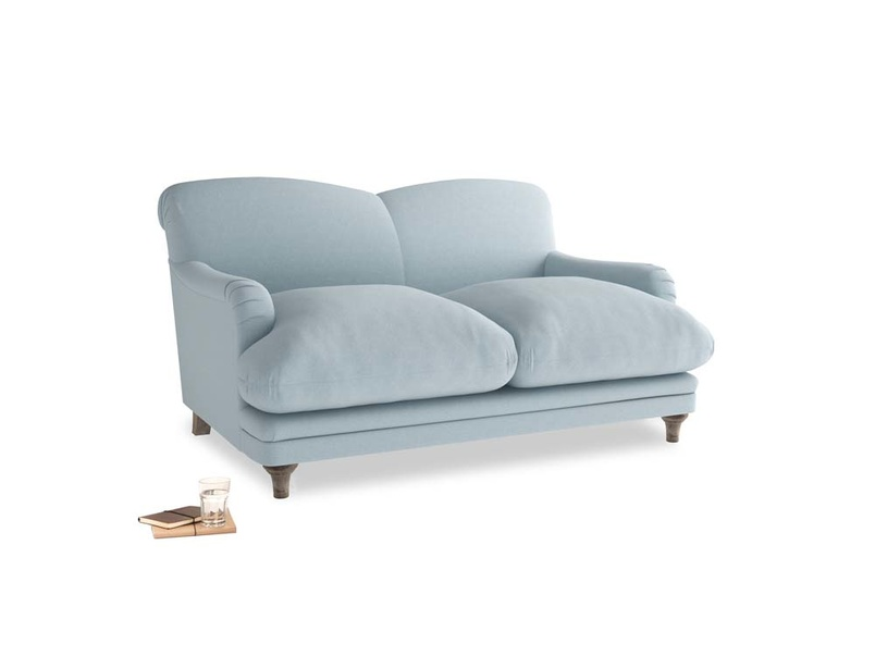 Small Pudding Sofa in Soothing blue washed cotton linen
