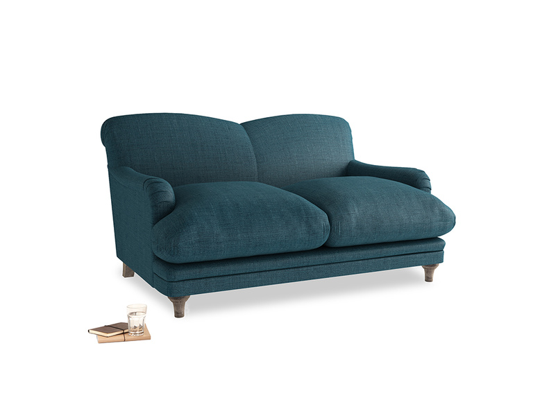 Small Pudding Sofa in Harbour Blue Vintage Linen