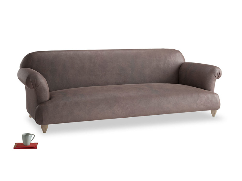 Extra large Soufflé Sofa in Dark Chocolate beaten leather