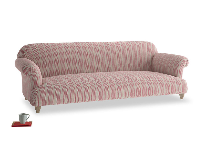 Extra large Soufflé Sofa in Red french stripe