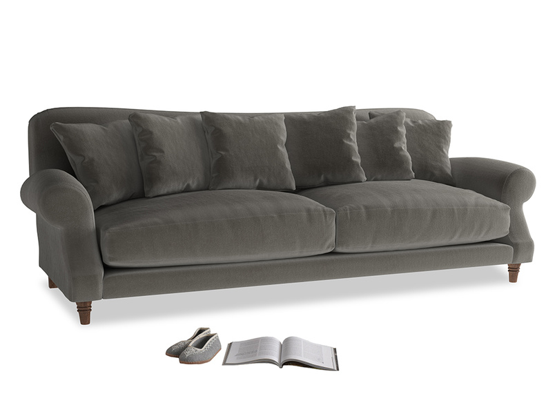 Extra large Crumpet Sofa in Slate clever velvet